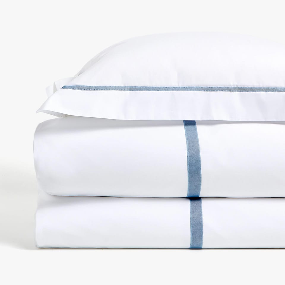 DUVET COVER WITH CONTRASTING RIBBON APPLIQUÉ