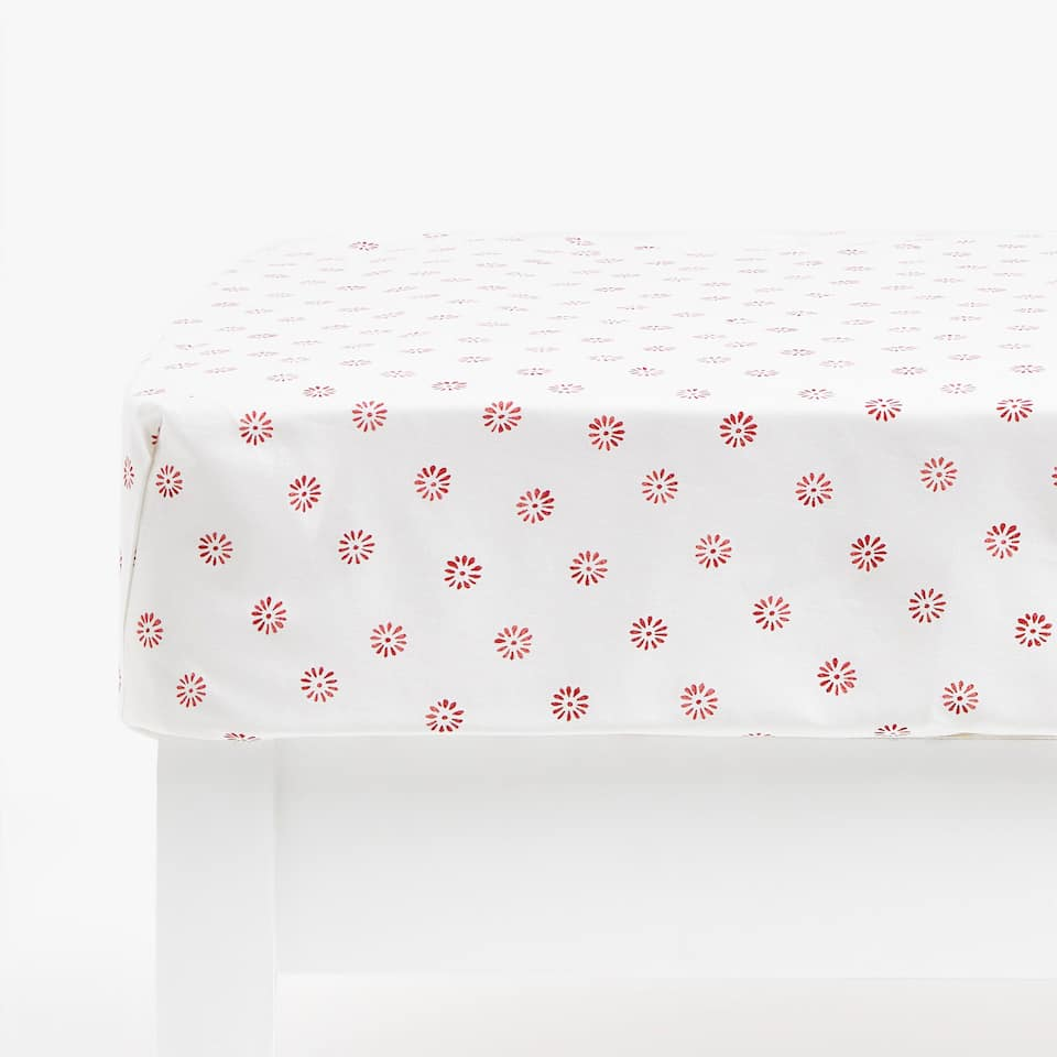 Dotted Flower Print Fitted Sheet