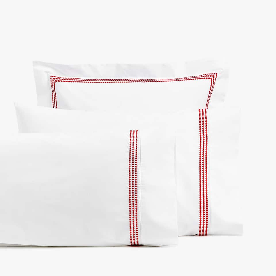 PILLOWCASE WITH SMALL EMBROIDERED POLKA DOTS