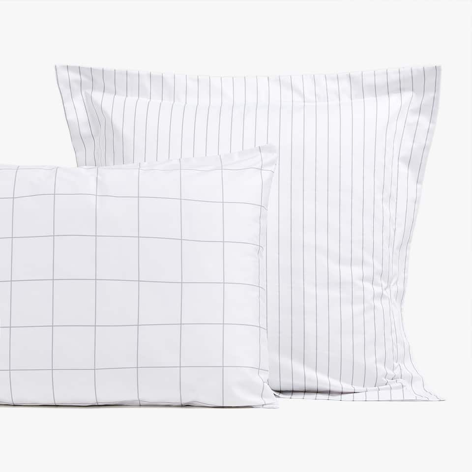 GREY STRIPED SATEEN PILLOWCASE