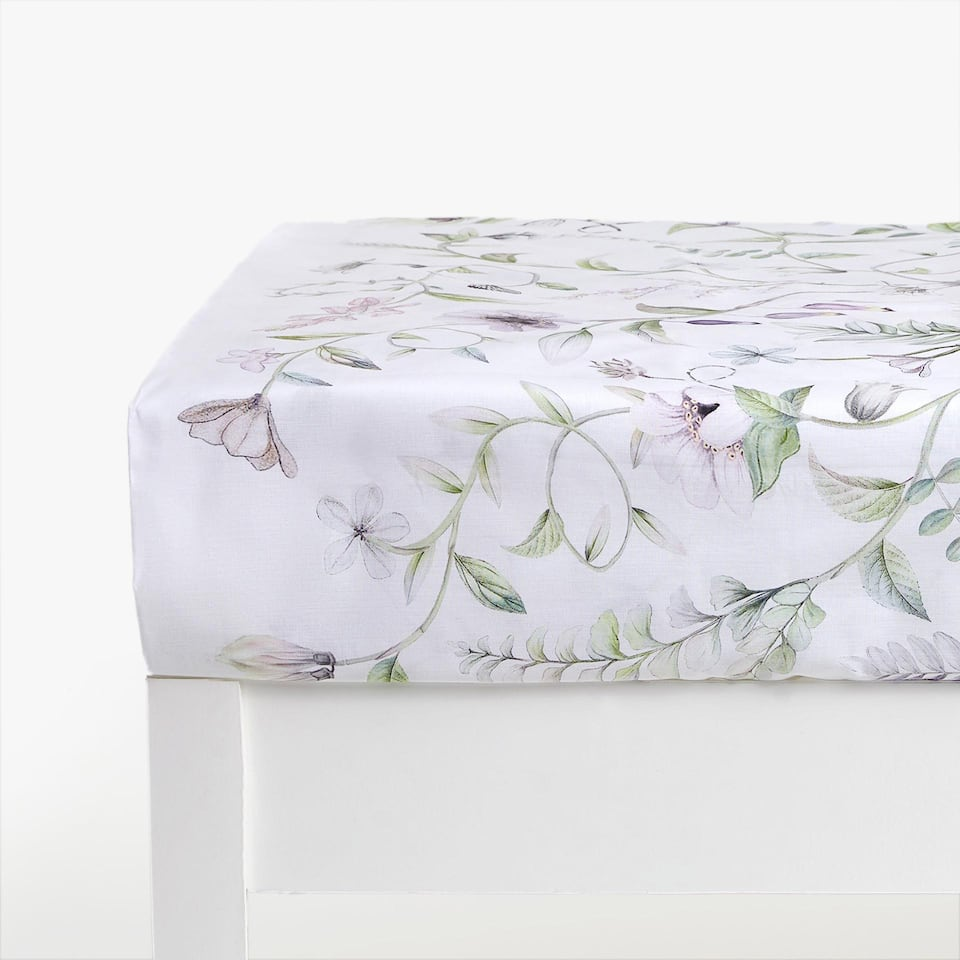 Digital Floral Print Fitted Sheet