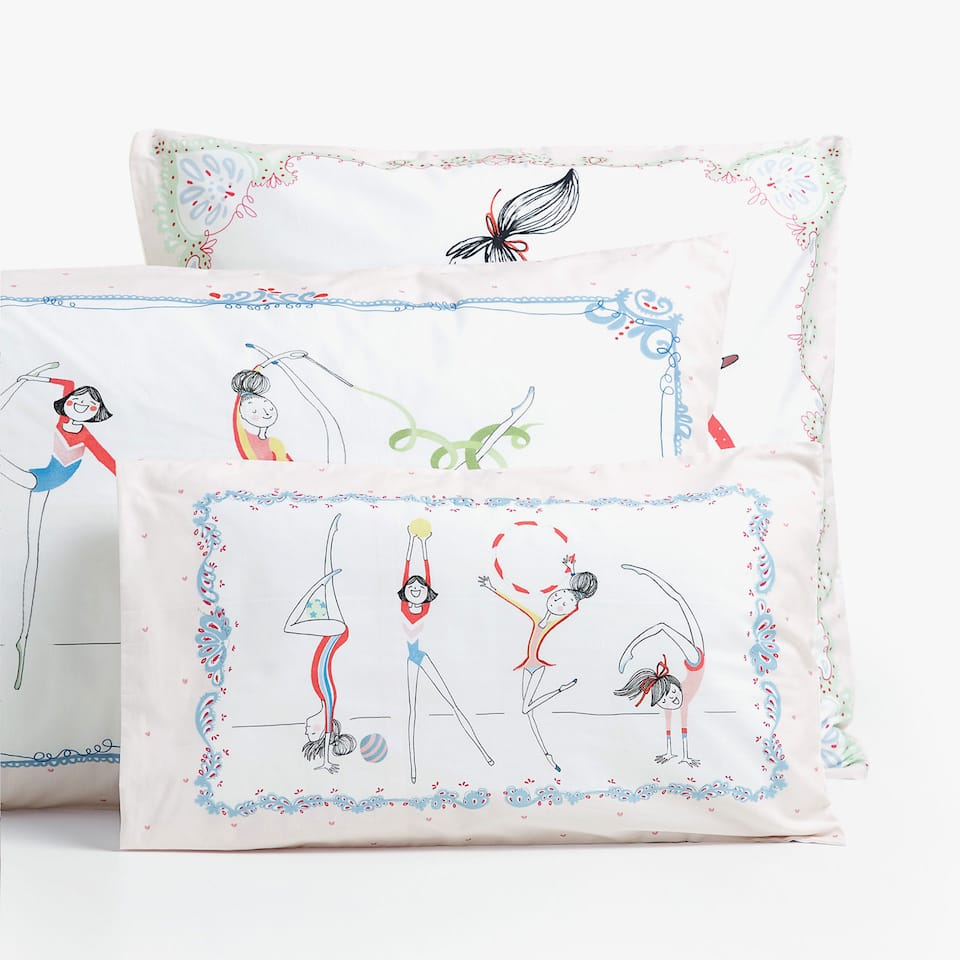 REVERSIBLE LITTLE GYMNASTS PRINT PILLOWCASE