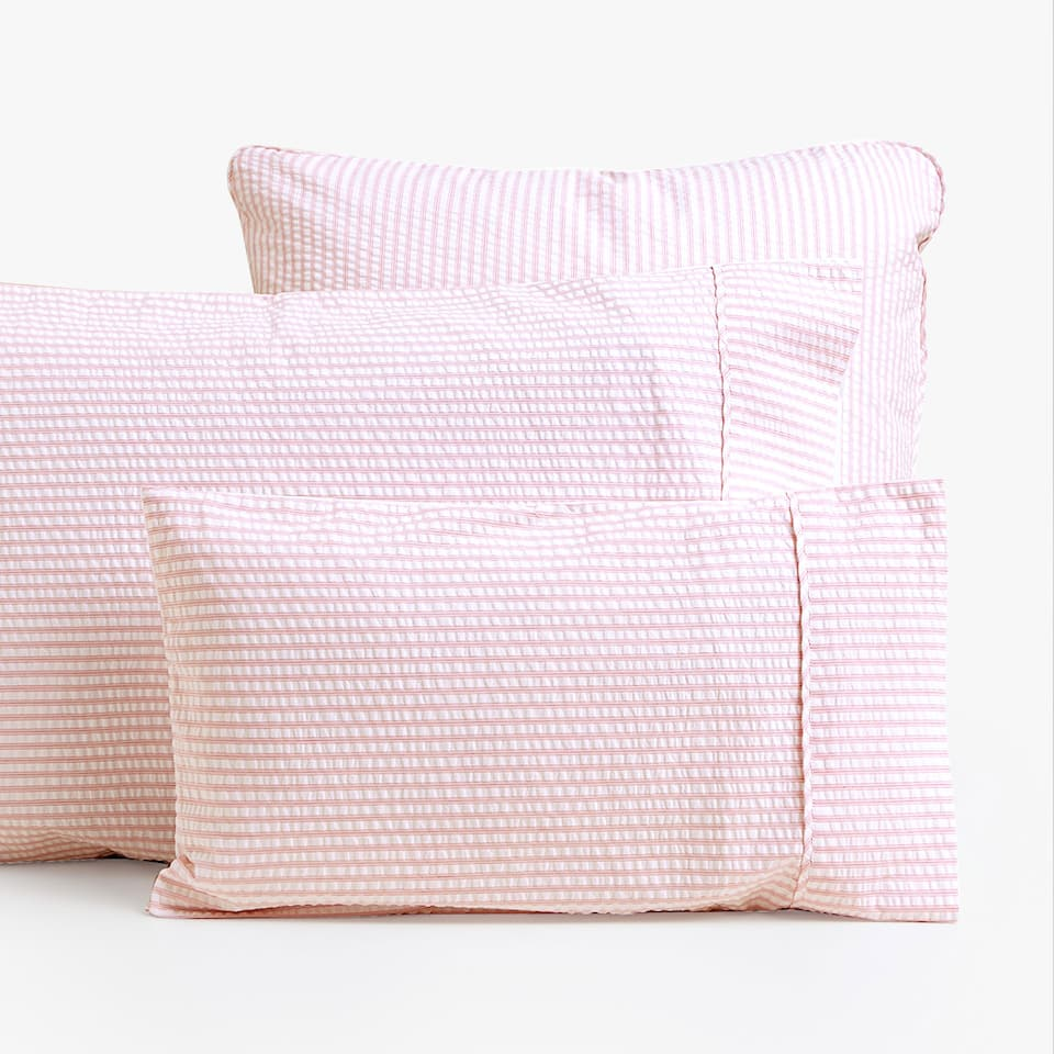 PINK SEERSUCKER PILLOWCASE