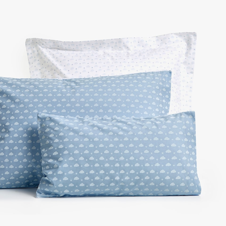 REVERSIBLE DENIM CLOUD PRINT PILLOWCASE