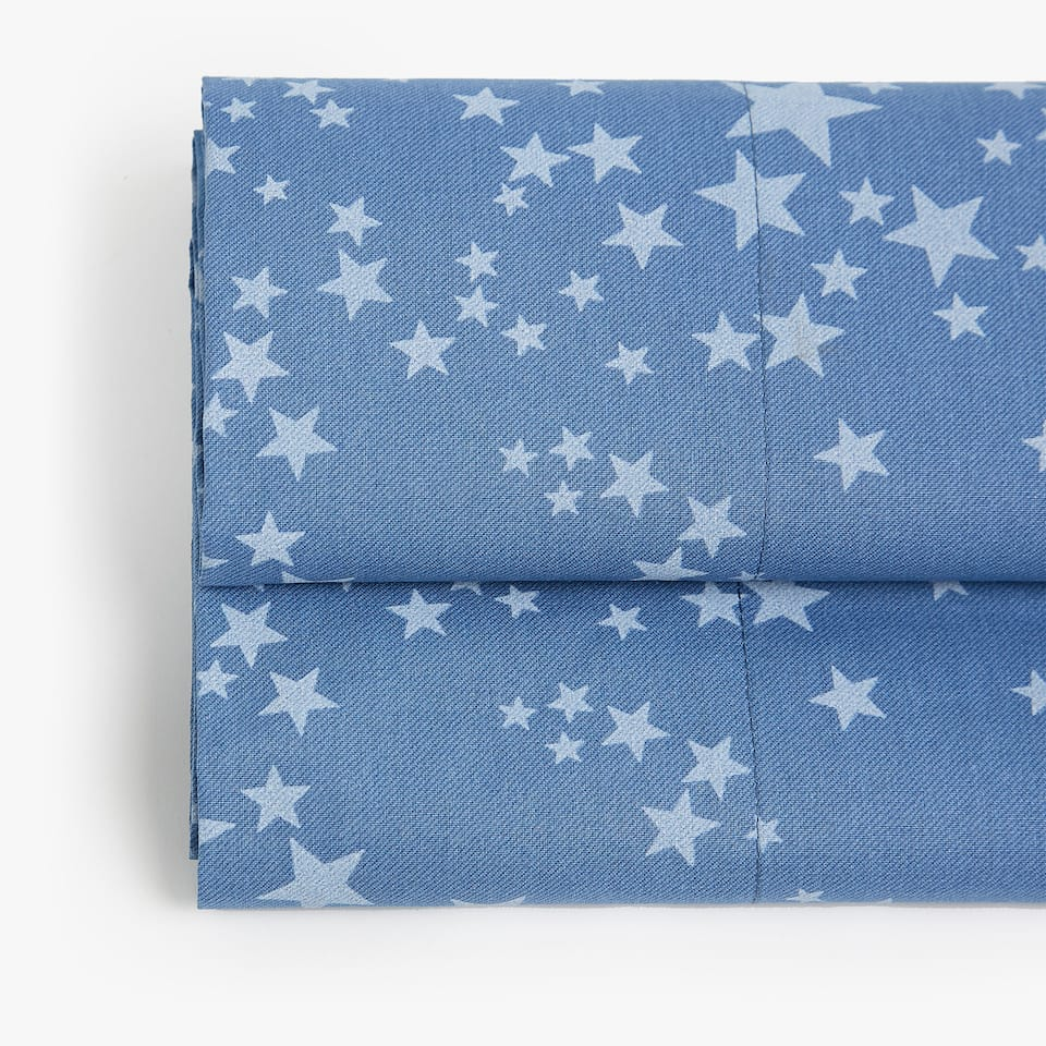 DENIM STAR PRINT FLAT SHEET