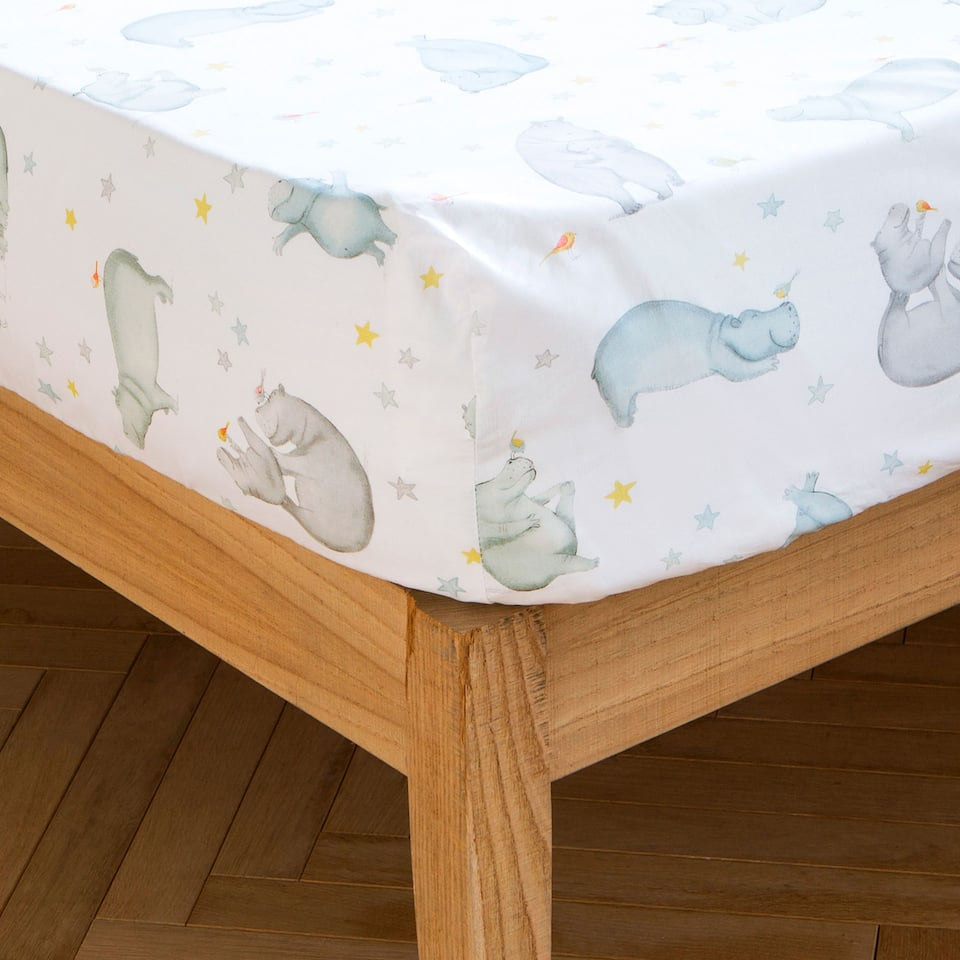 HIPPOPOTAMUS PRINT BOTTOM SHEET
