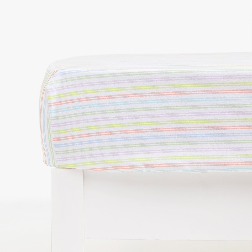 STRIPED PRINT FITTED SHEET