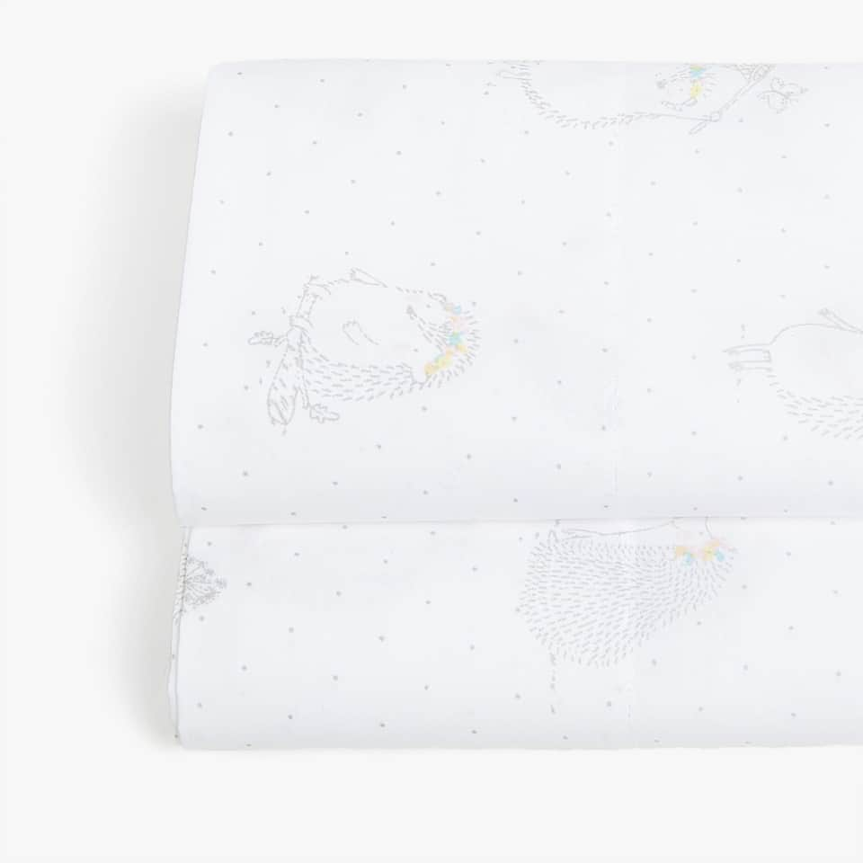 HEDGEHOG PRINT PERCALE FLAT SHEET