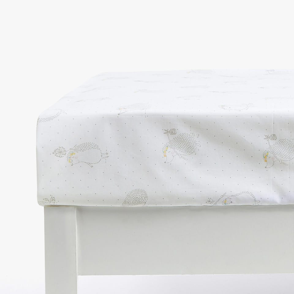 HEDGEHOG PRINT COTTON PERCALE FITTED SHEET