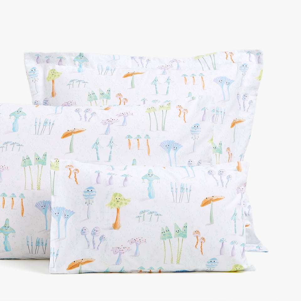 EMBELLISHED MUSHROOM PRINT PILLOWCASE