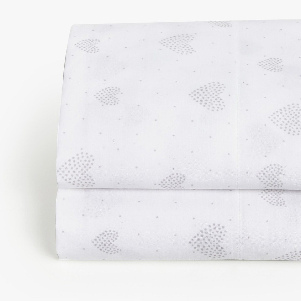 HEART PRINT PERCALE FLAT SHEET