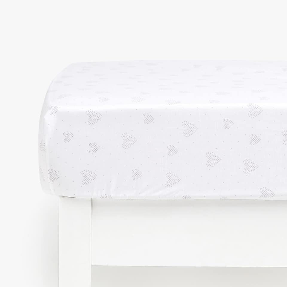HEART PRINT PERCALE FITTED SHEET