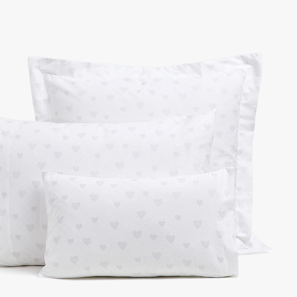 HEART PRINT PERCALE PILLOWCASE