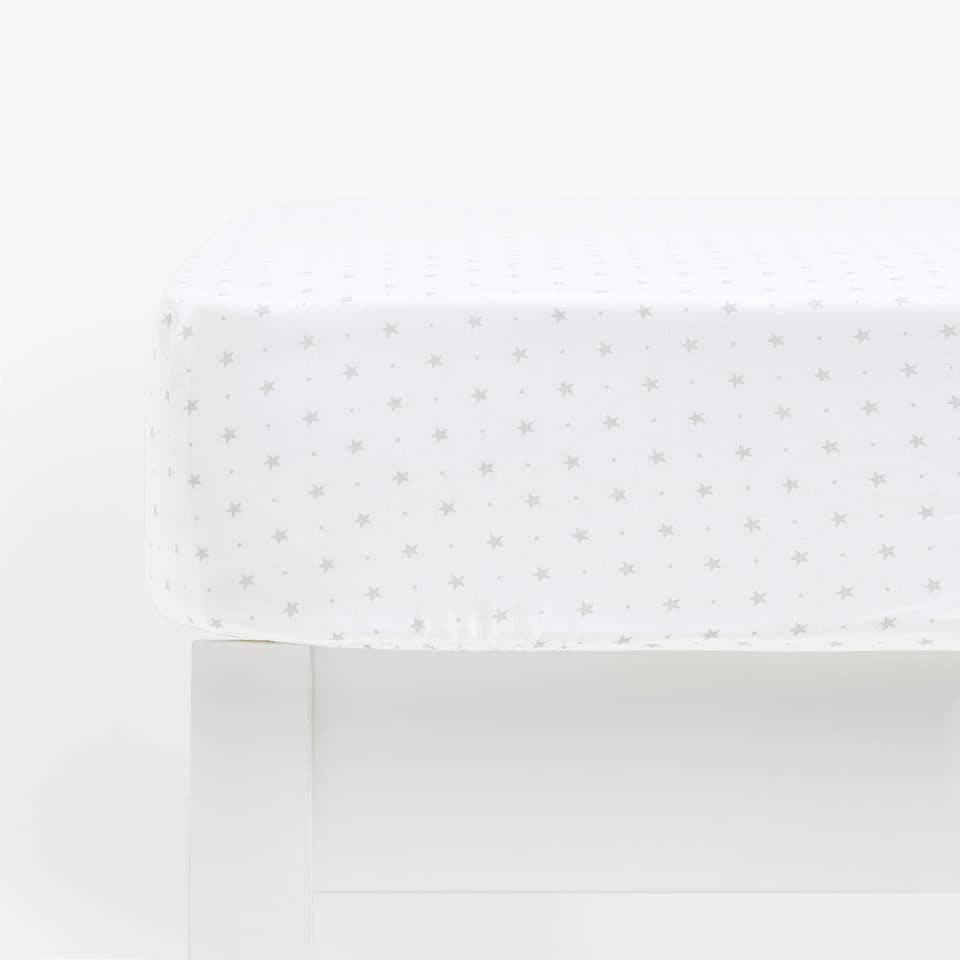 STAR PRINT COTTON PERCALE FITTED SHEET
