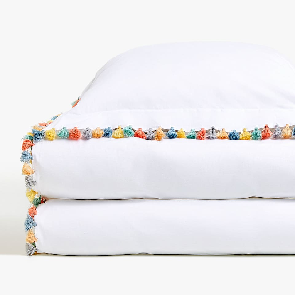 POMPOM DETAIL PERCALE DUVET COVER