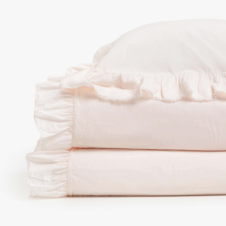 Frilled Washed Cotton Percale Duvet Cover