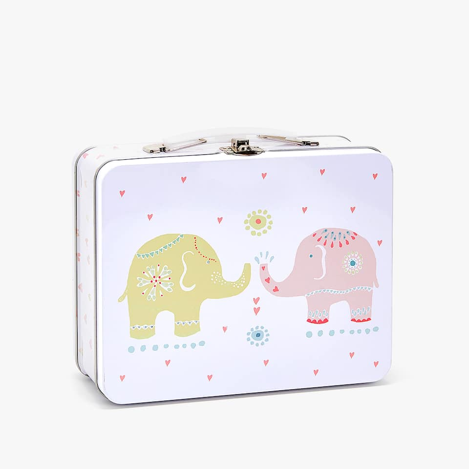 Multicoloured elephants briefcase