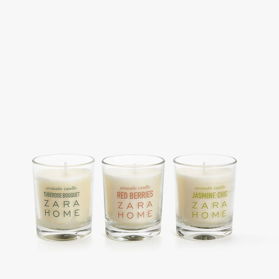 PACK OF THREE MINI SCENTED CANDLES