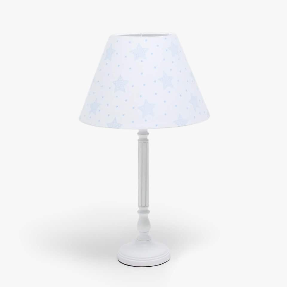White stand lamp with shade