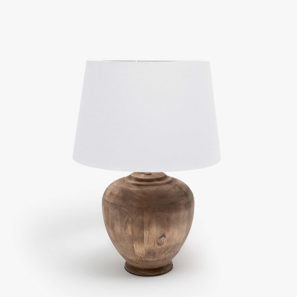 LAMP WITH NATURAL WOODEN BASE