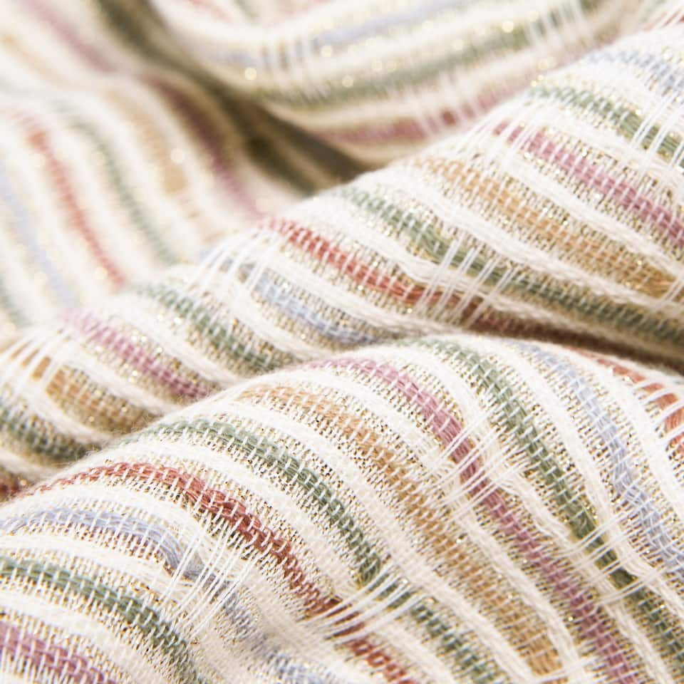 METALLIC THREAD STRIPED LINEN BLANKET