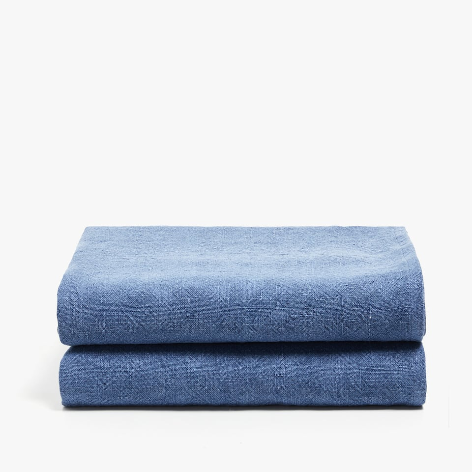 FADED-EFFECT LINEN BLANKET