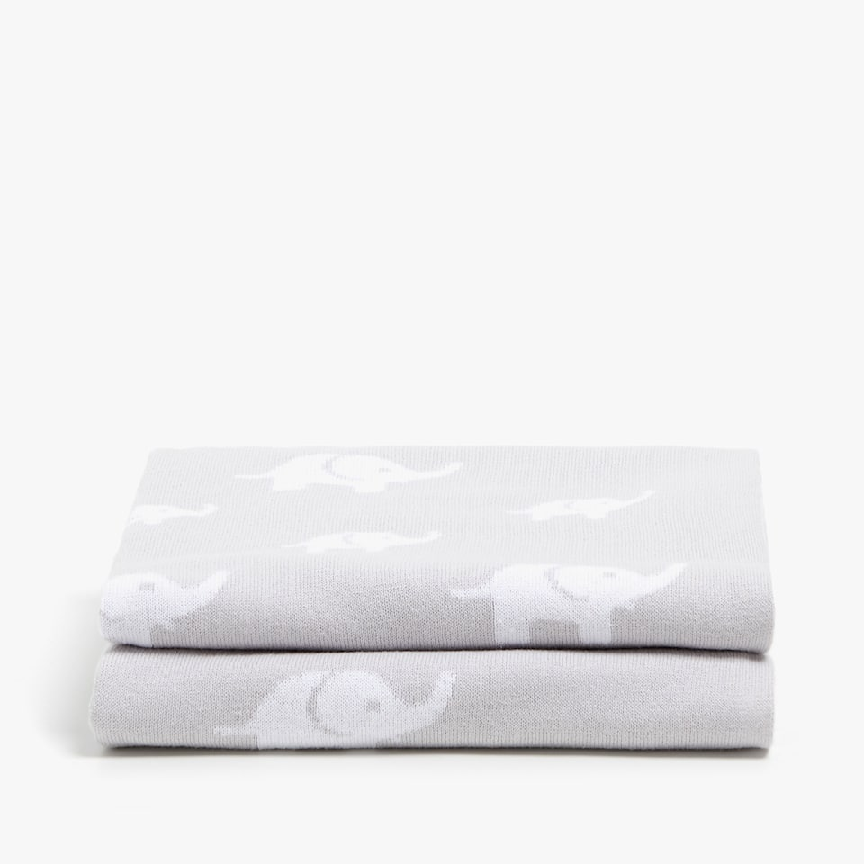 CONTRASTING ELEPHANTS COTTON BLANKET