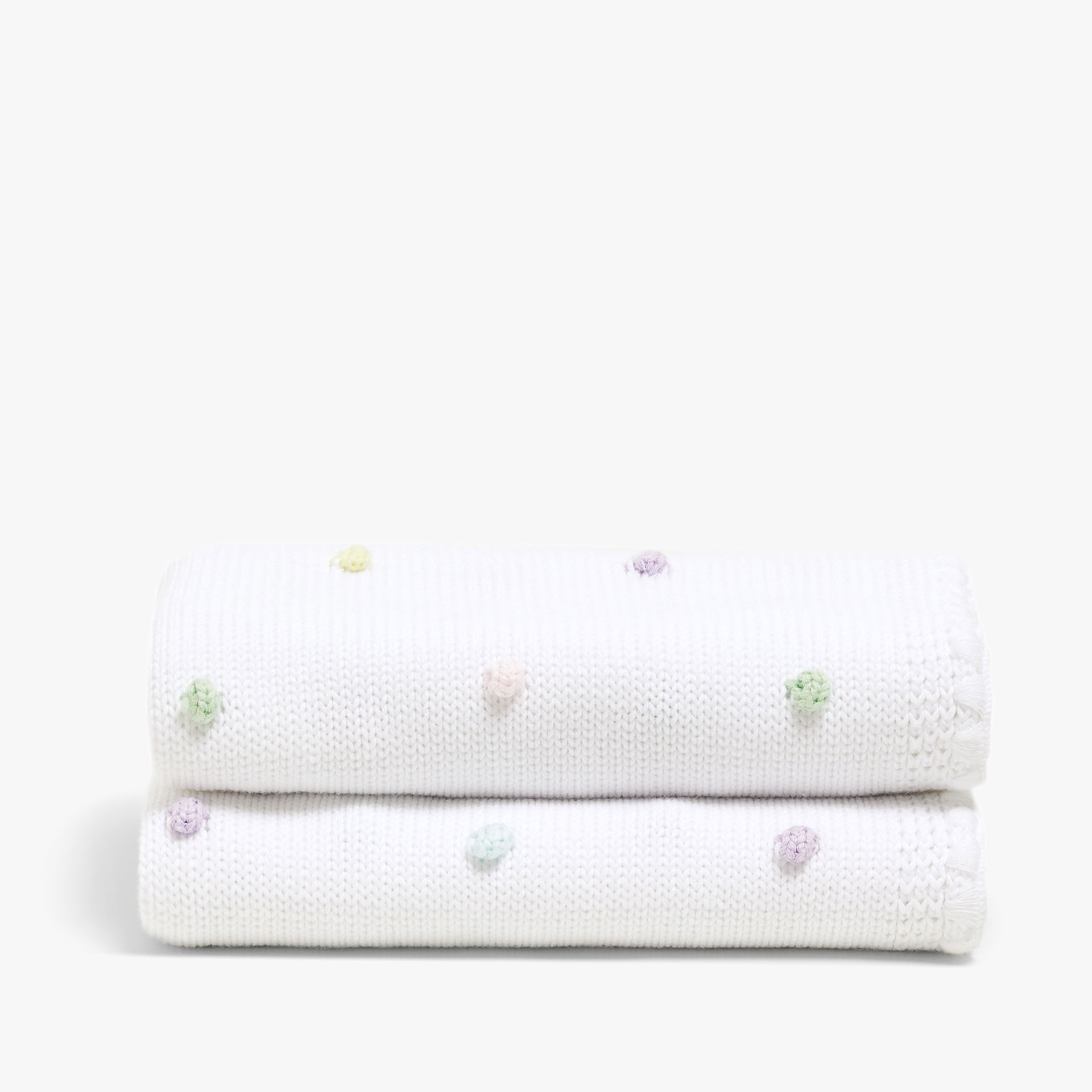 TWO-TONE COTTON BLANKET WITH RAISED POLKA DOTS