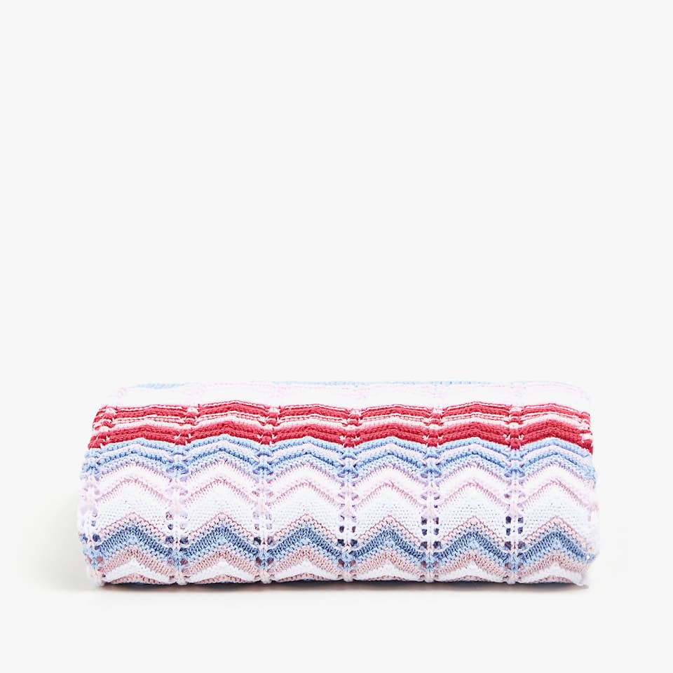 MULTICOLOURED HERRINGBONE COTTON BLANKET