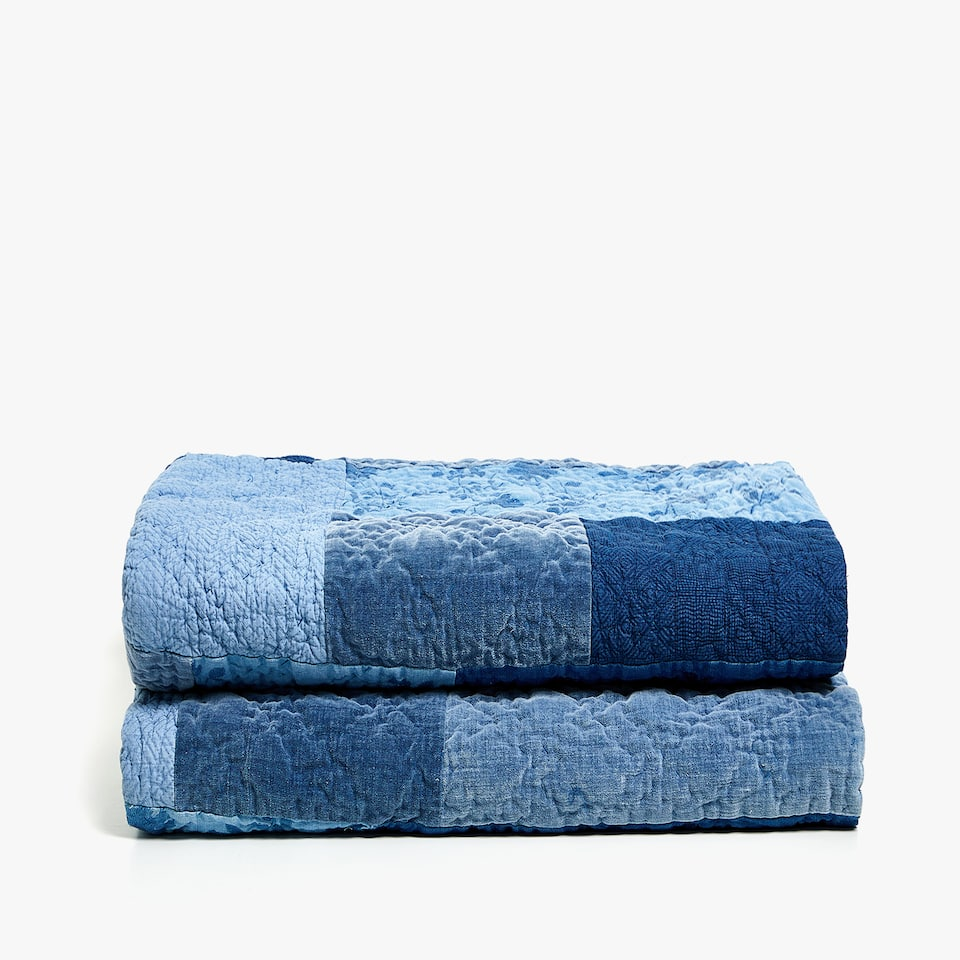 TEXTURED DENIM PATCHWORK QUILT