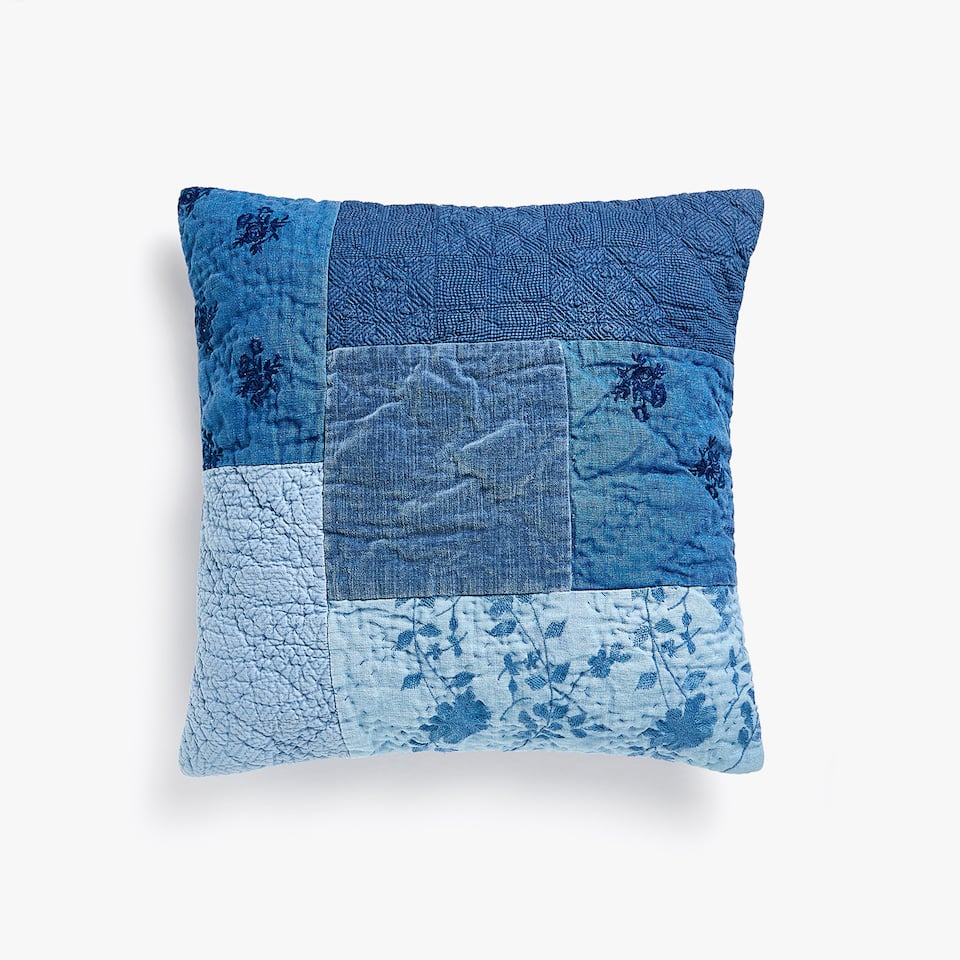 TEXTURED DENIM PATCHWORK CUSHION COVER