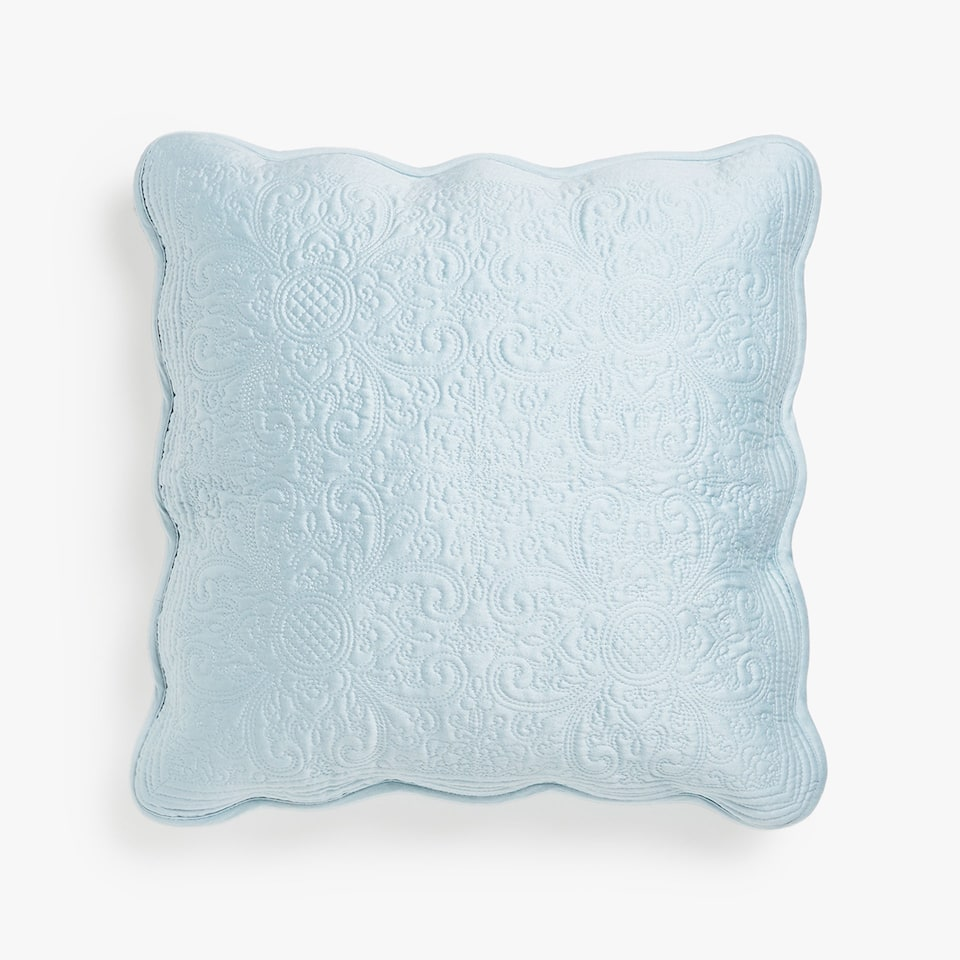 FLORAL DESIGN CUSHION COVER WITH SCALLOPED EDGE