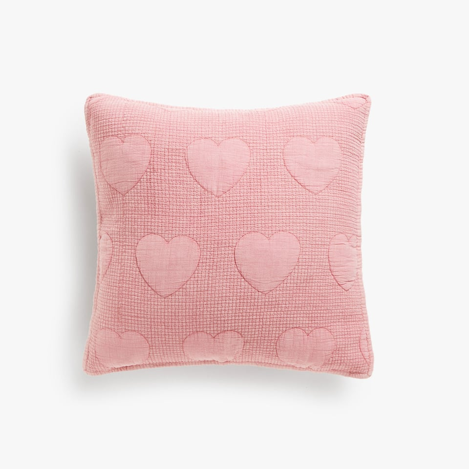 RAISED HEARTS WASHED COTTON CUSHION COVER