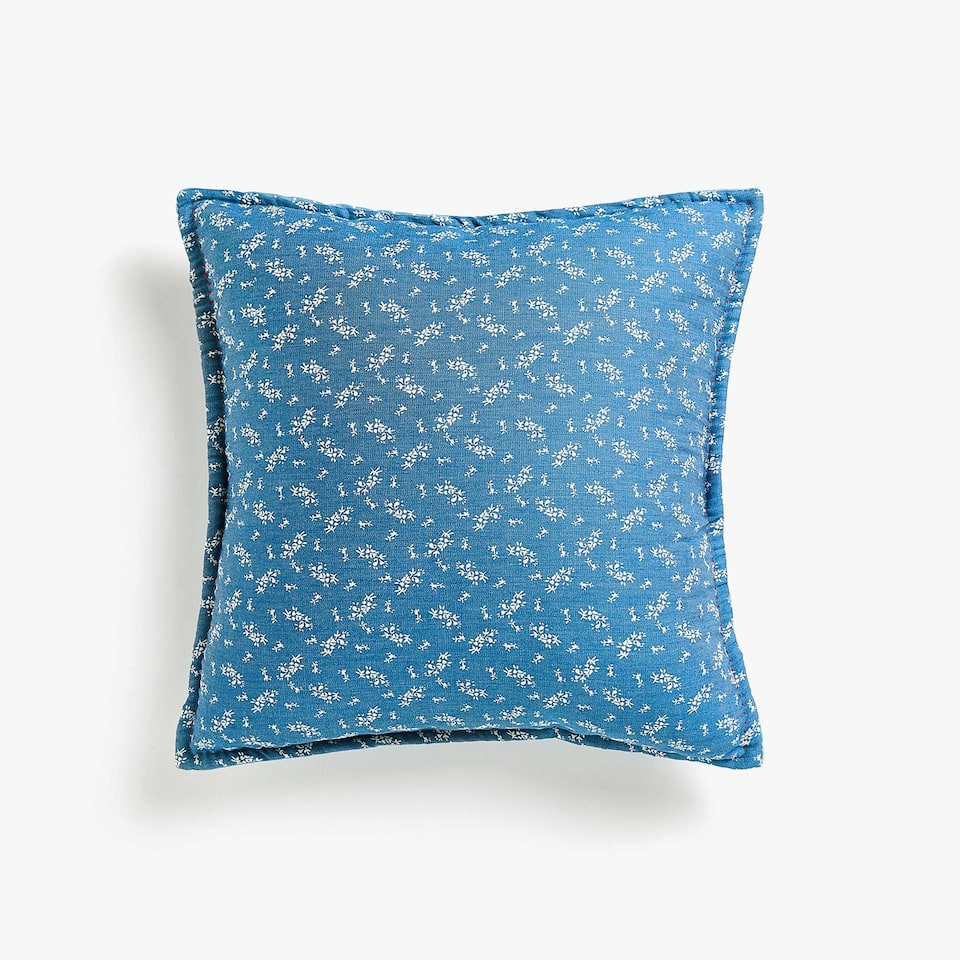 DENIM PATCHWORK CUSHION COVER WITH FRILLS