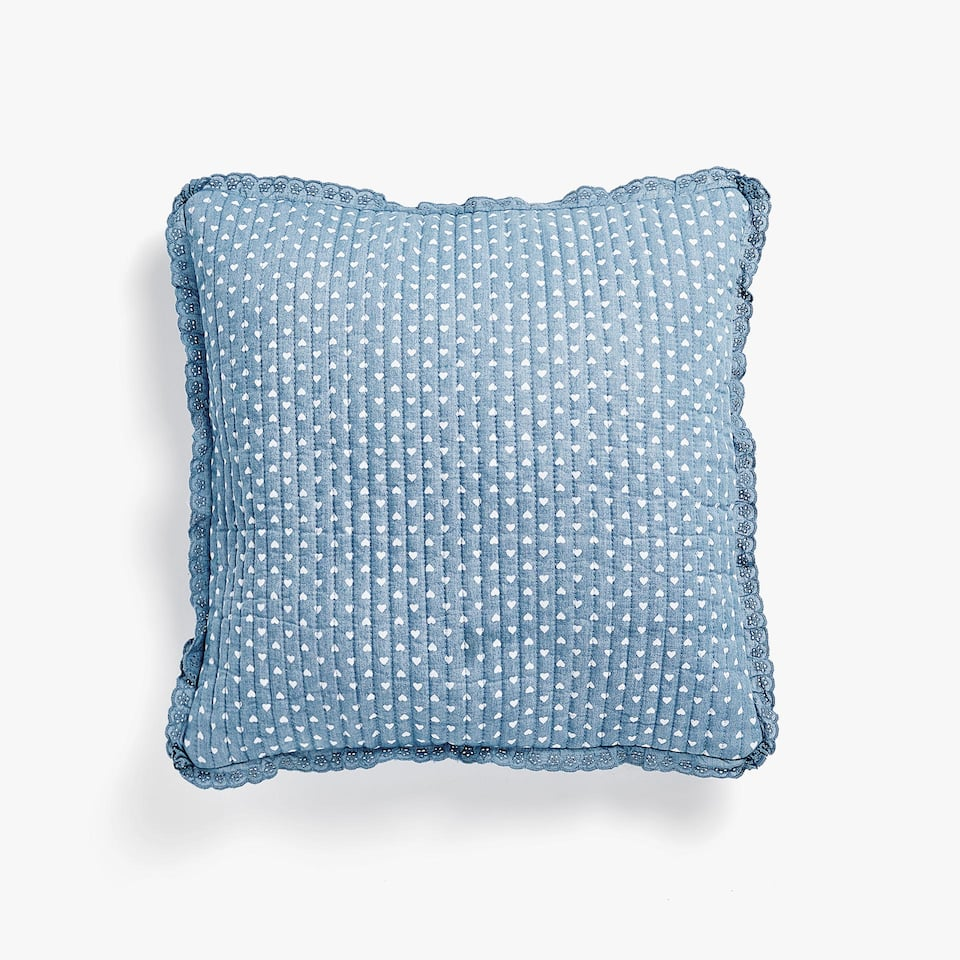HEARTS PRINT DENIM CUSHION COVER