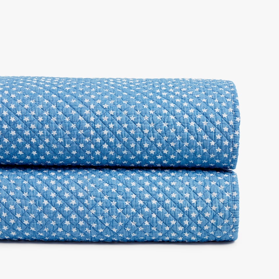 LITTLE STARS PRINT DENIM BEDSPREAD