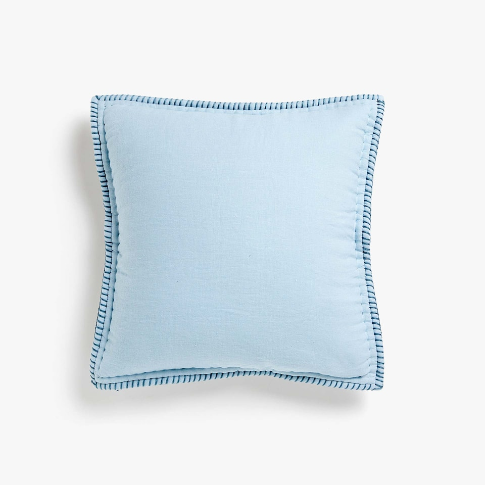 LINEN THROW PILLOW COVER WITH CONTRASTING TOPSTITCHING