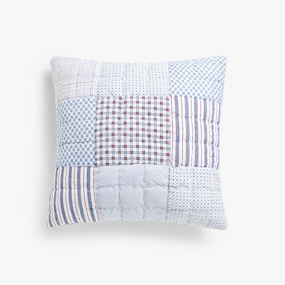 MULTICOLOURED PATCHWORK COTTON CUSHION COVER