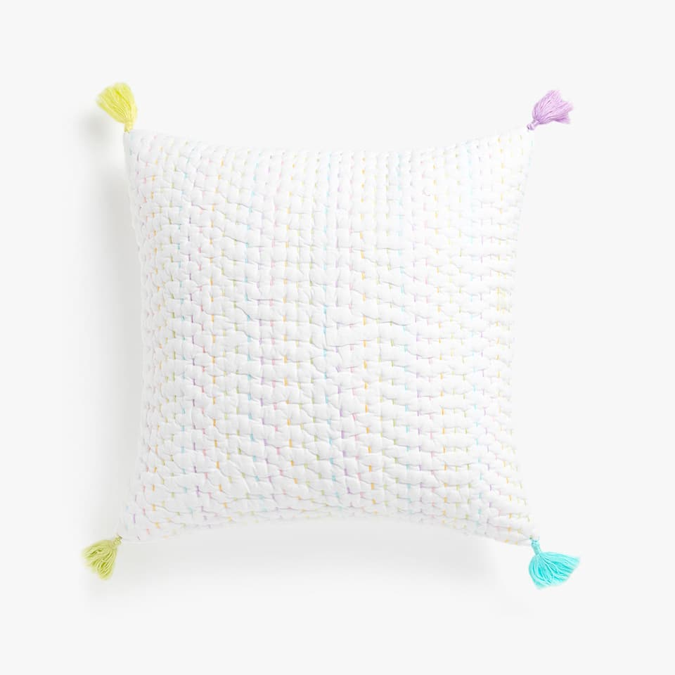 CUSHION COVER WITH MULTICOLOURED TOPSTITCHING AND TASSELS