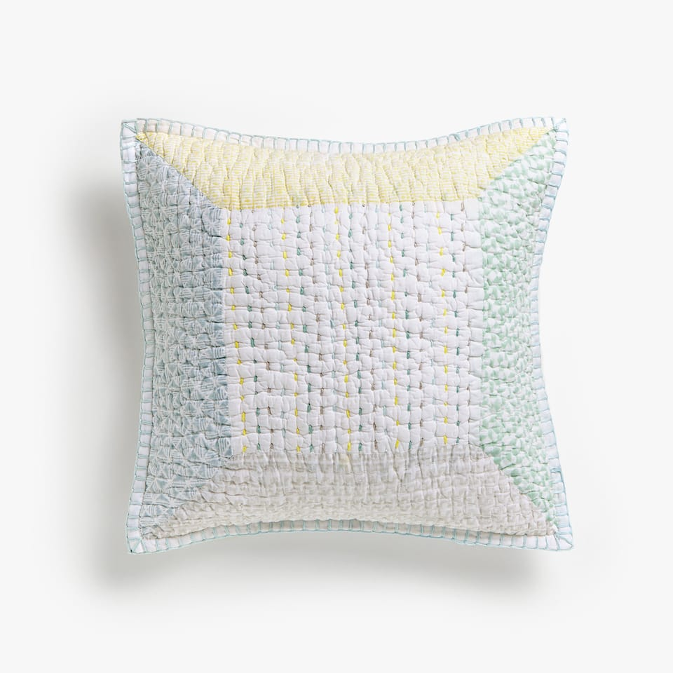 PRINTED MULTICOLOURED TOPSTITCHING CUSHION COVER