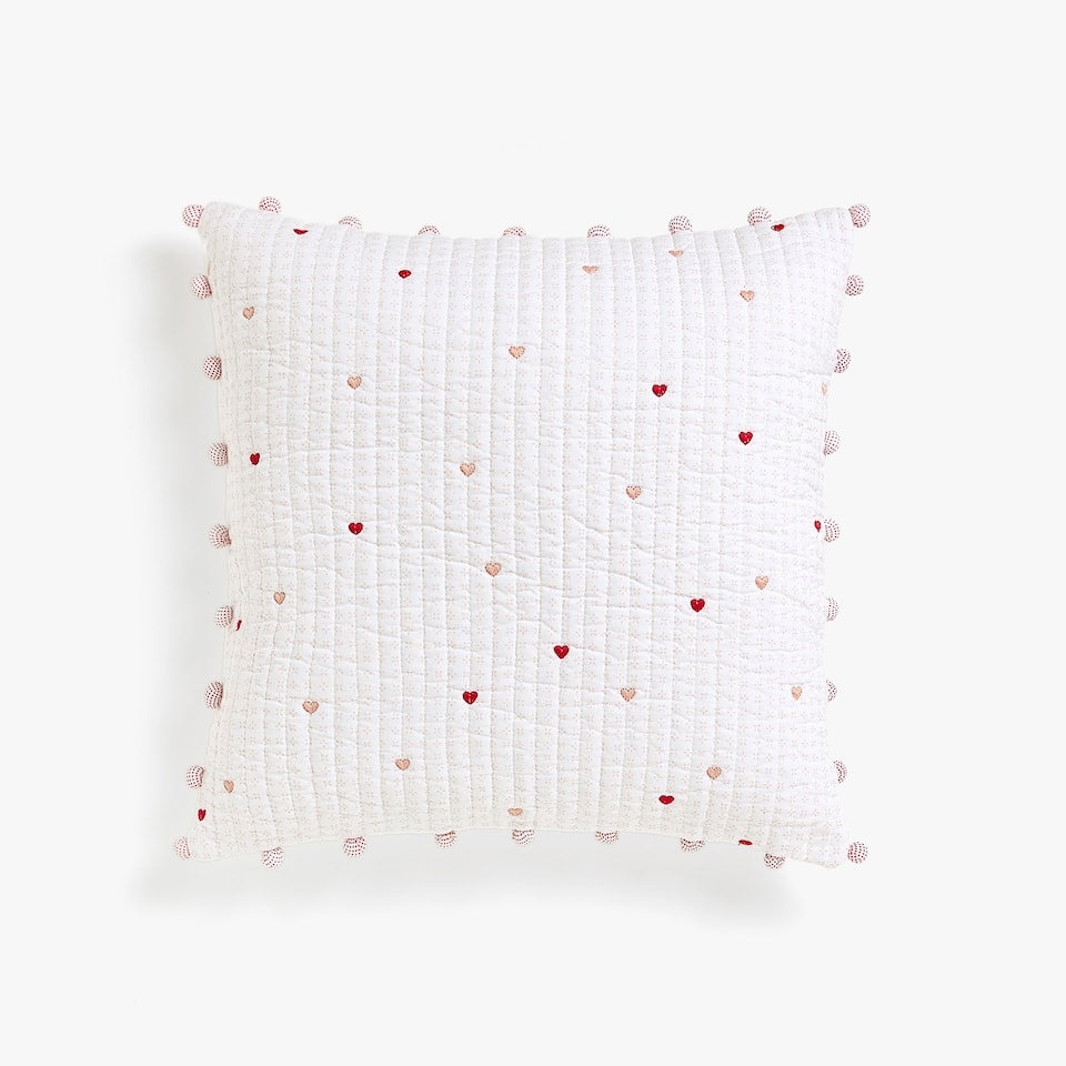 EMBROIDERED HEARTS AND POMPOM CUSHION COVER