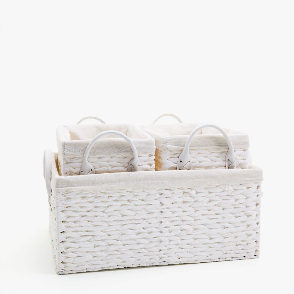 BRAIDED BASKET WITH HANDLES