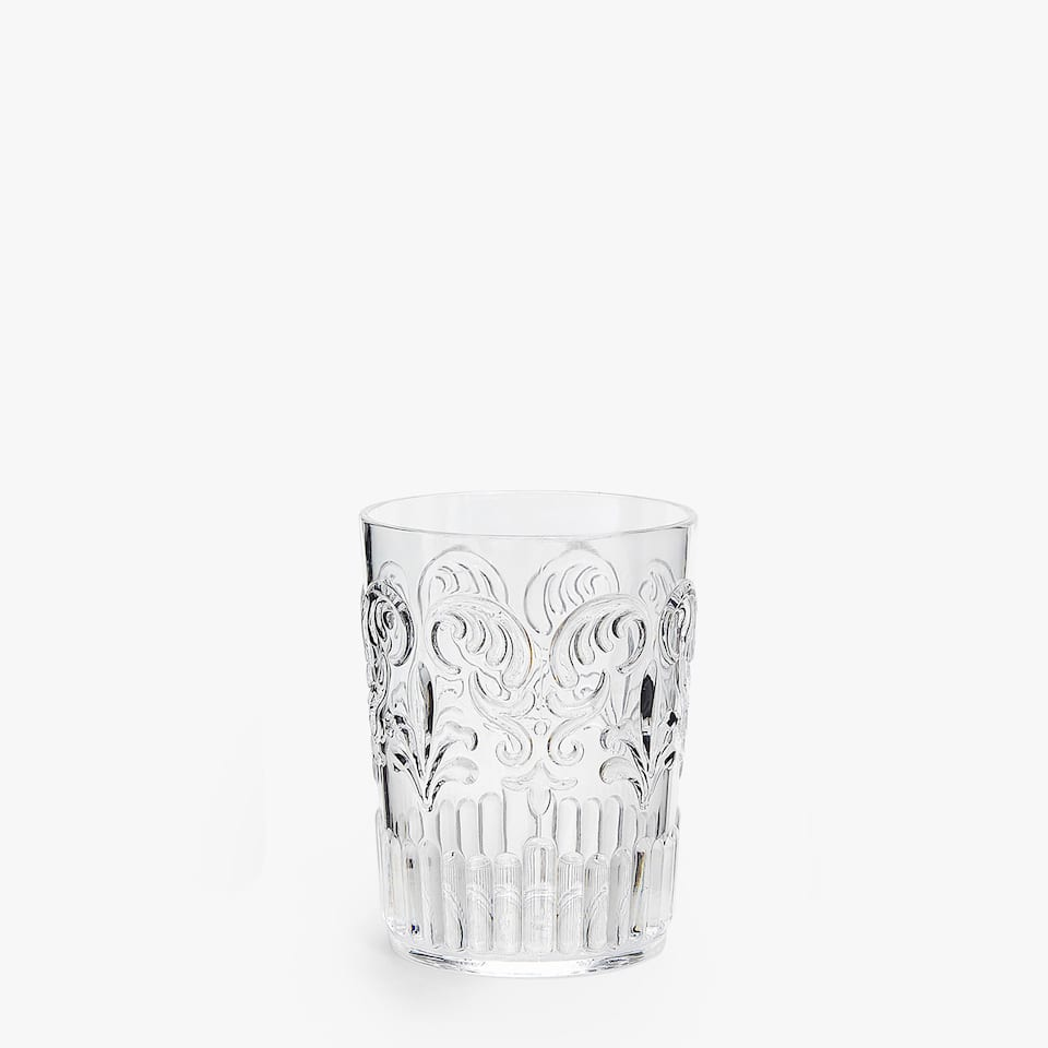 Transparent Tumbler with Raised Design