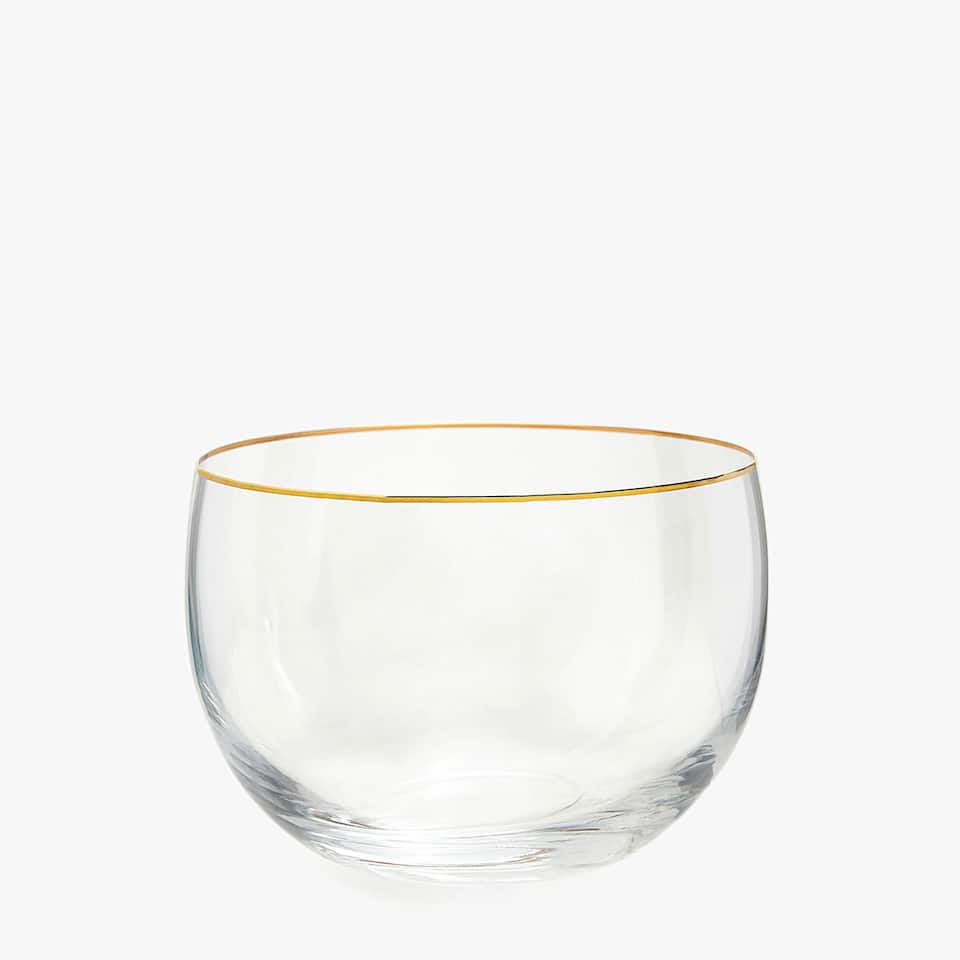 METAL-RIMMED GLASS SALAD BOWL