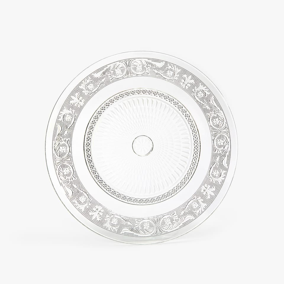RAISED DESIGN GLASS CHARGER PLATE