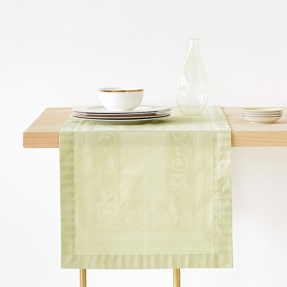 CHEMIN DE TABLE COTON SATIN JACQUARD