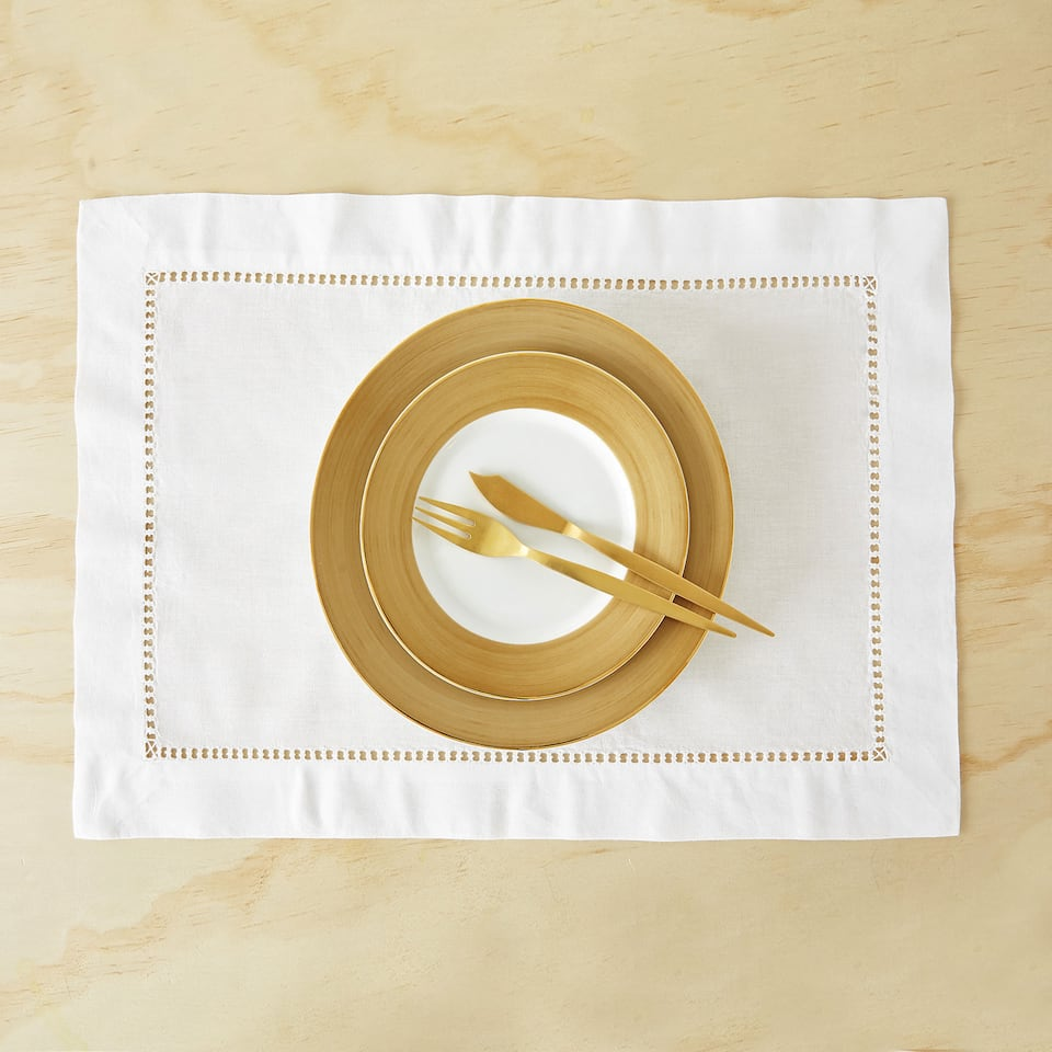 HEMSTITCHED RAMIE AND COTTON PLACEMAT