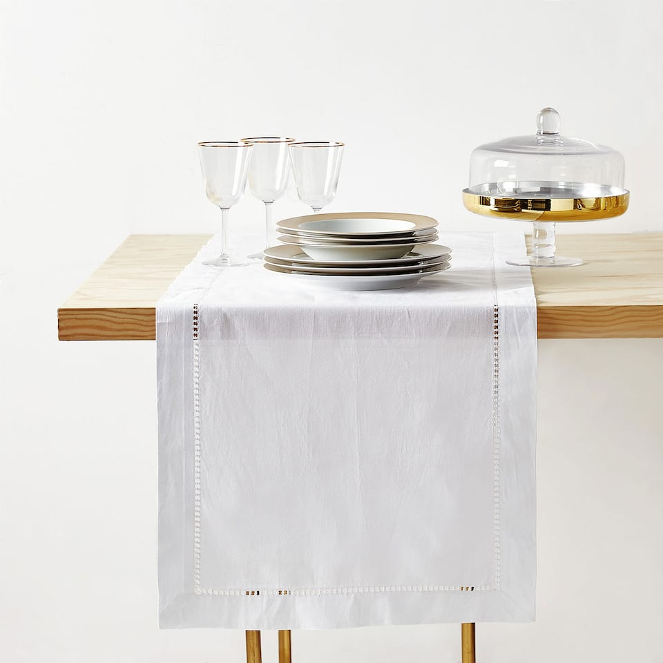 HEMSTITCHED RAMIE AND COTTON TABLE RUNNER