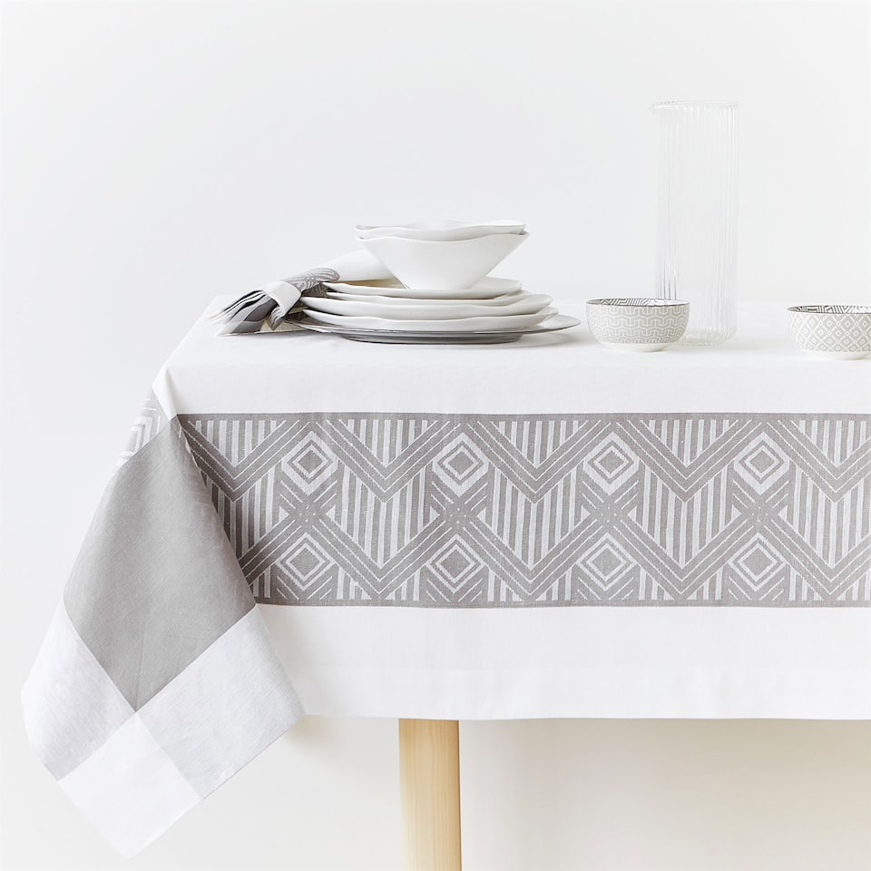 LINEN AND COTTON JACQUARD TABLECLOTH WITH GREY BORDER