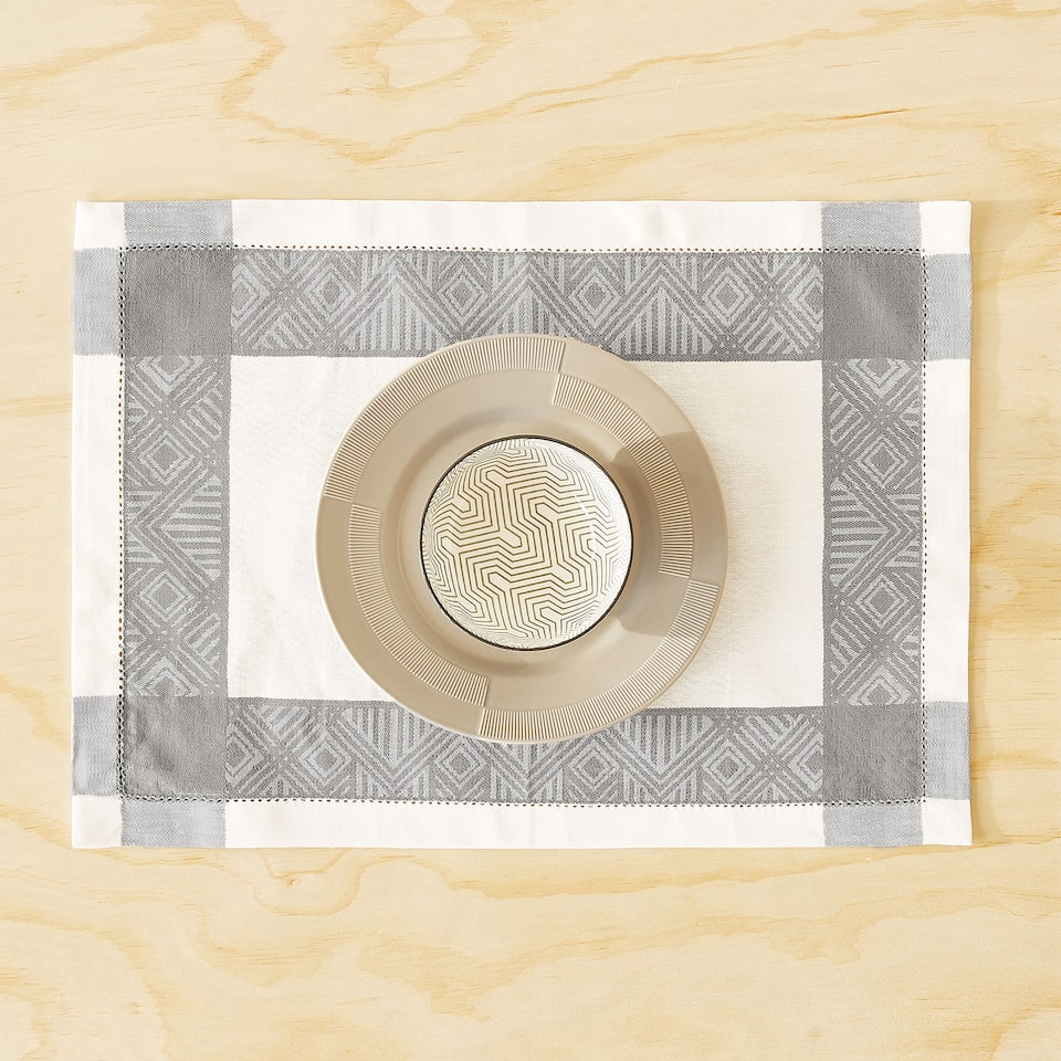 SET DE TABLE COTON ET LIN JACQUARD BORDURE GRIS